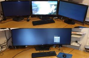 "3 x Benq 24"" utbytta mot en Dell 49"" U4919DW"